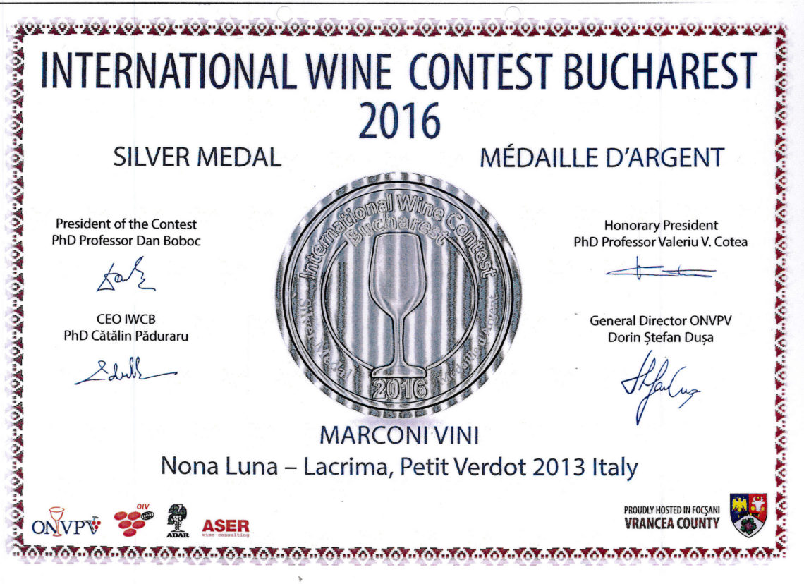 Marconi Vini - Lacrima, Petit Verdot 2013 - Nona Luna - Silver - International Wine Contest Bucharest 2016
