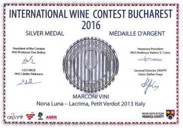 Lacrima, Petit Verdot 2013 – Nona Luna – Silver – International Wine Contest Bucharest 2016