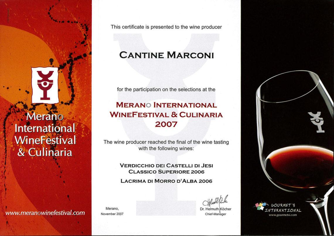 Marconi Vini - Lacrima di Morro D'Alba 2006 - Merano International WineFestival e Culinaria 2007