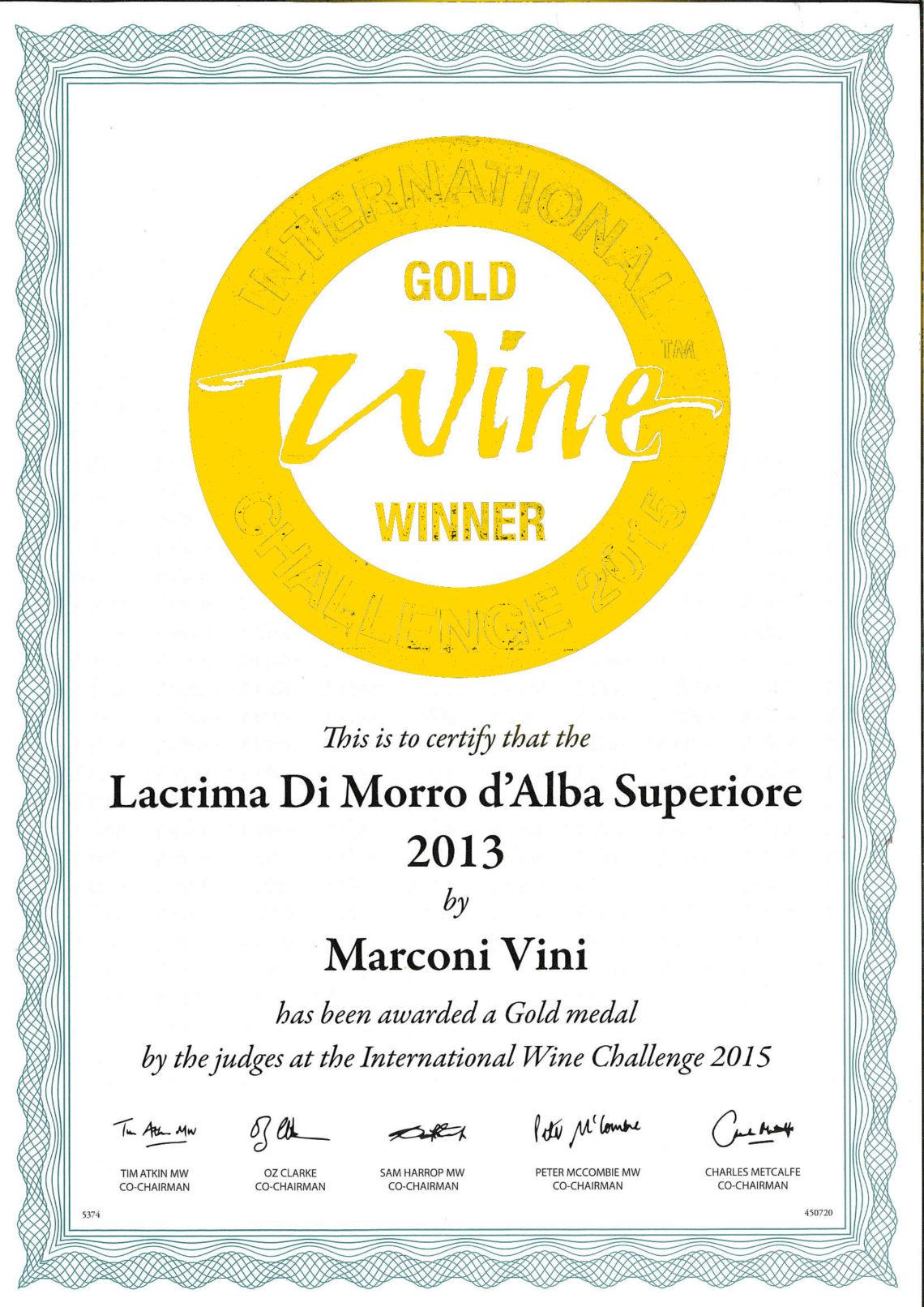 Marconi Vini - Lacrima di Morro D'Alba Superiore 2013 - Gold - International Challenge 2015