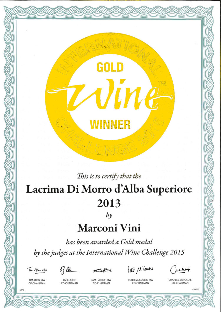 Lacrima di Morro D'Alba Superiore 2013 – Gold – International Challenge 2015