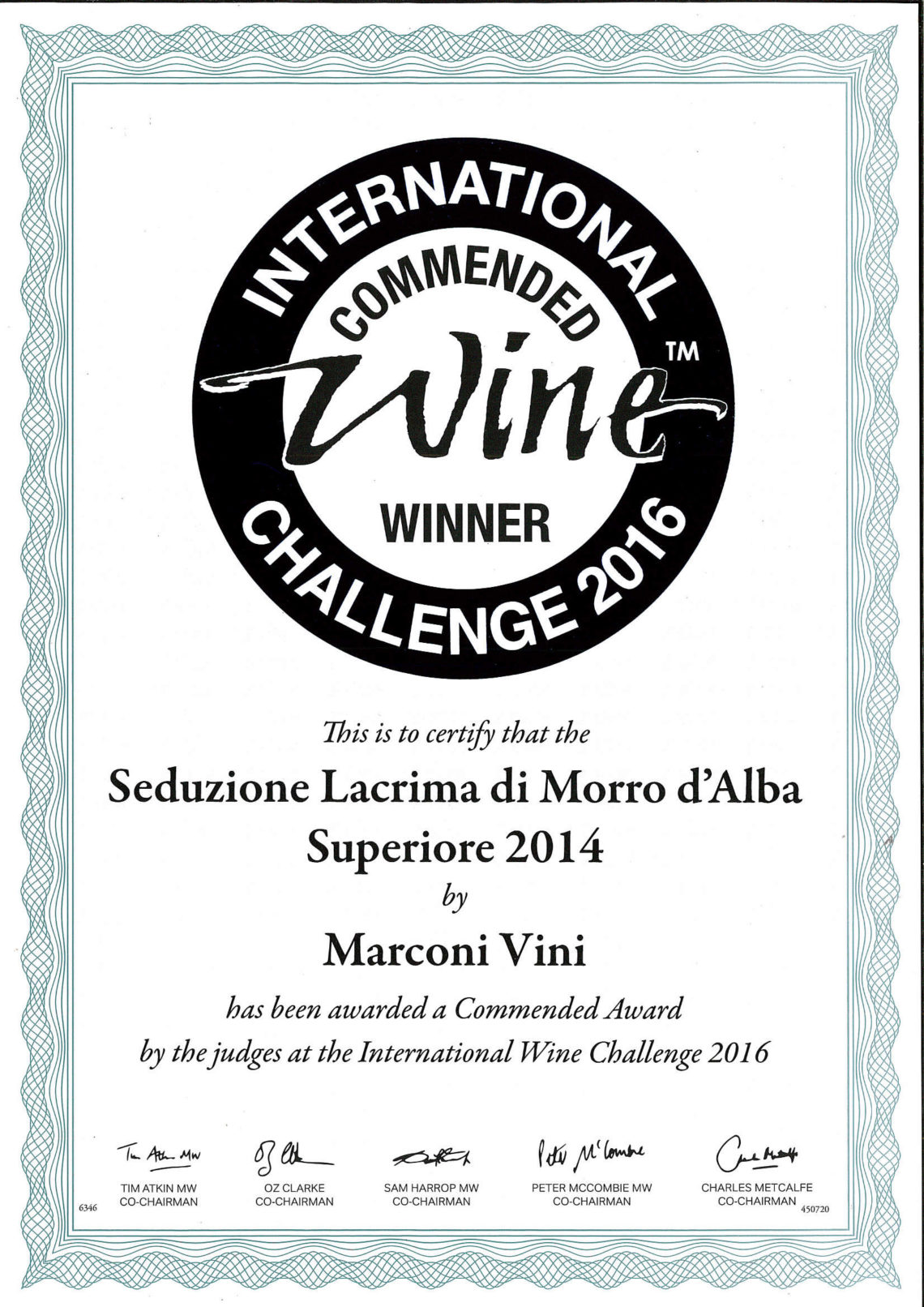 Marconi Vini - Lacrima di Morro D'Alba Superiore 2014 - Seduzione - Commended - International Challenge 2016