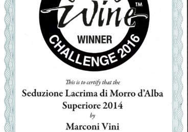 Lacrima di Morro D'Alba Superiore 2014 – Seduzione – Commended – International Challenge 2016