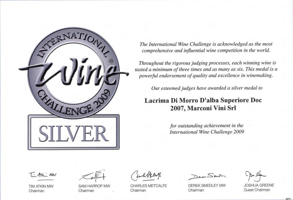 Marconi Vini - Lacrima di Morro D'Alba Superiore DOC 2007 - Silver - International Wine Challenge 2009