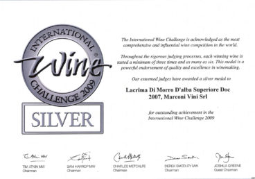 Lacrima di Morro D'Alba Superiore DOC 2007 – Silver – International Wine Challenge 2009