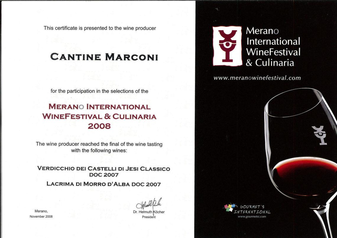 Marconi Vini - Lacrima di Morro d'Alba DOC 2007 - Merano International WineFestival e Culinaria 2008