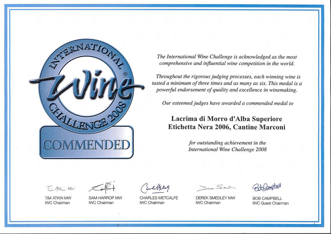 Marconi Vini - Lacrima di Morro d'Alba Superiore 2006 - Commended - International Wine Challenge 2008