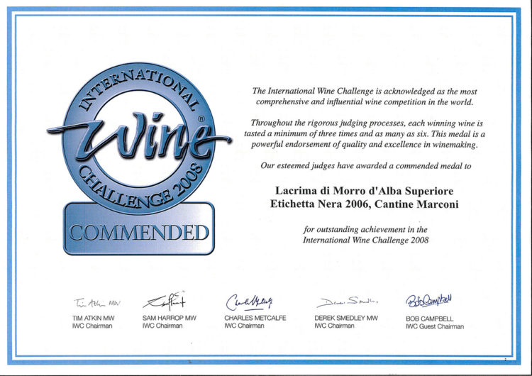 Lacrima di Morro d'Alba Superiore 2006 – Commended – International Wine Challenge 2008
