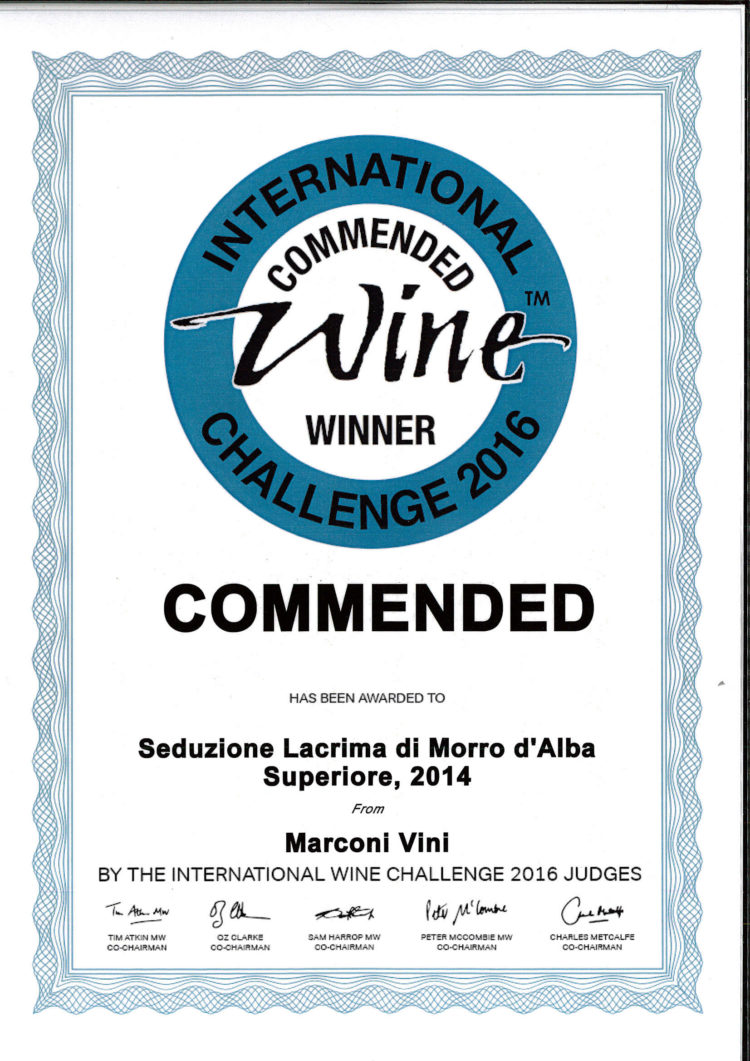 Lacrima di Morro d'Alba Superiore 2006 – Seduzione – Commended – International Wine Challenge 2016