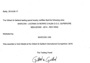 Lacrima di Morro d'Alba Superiore 2014 – Seduzione – Gold – Gilbert & Gaillard International 2016
