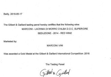 Lacrima di Morro d'Alba Superiore 2014 – Seduzione – Gold – Gilbert & Gaillard International 2016