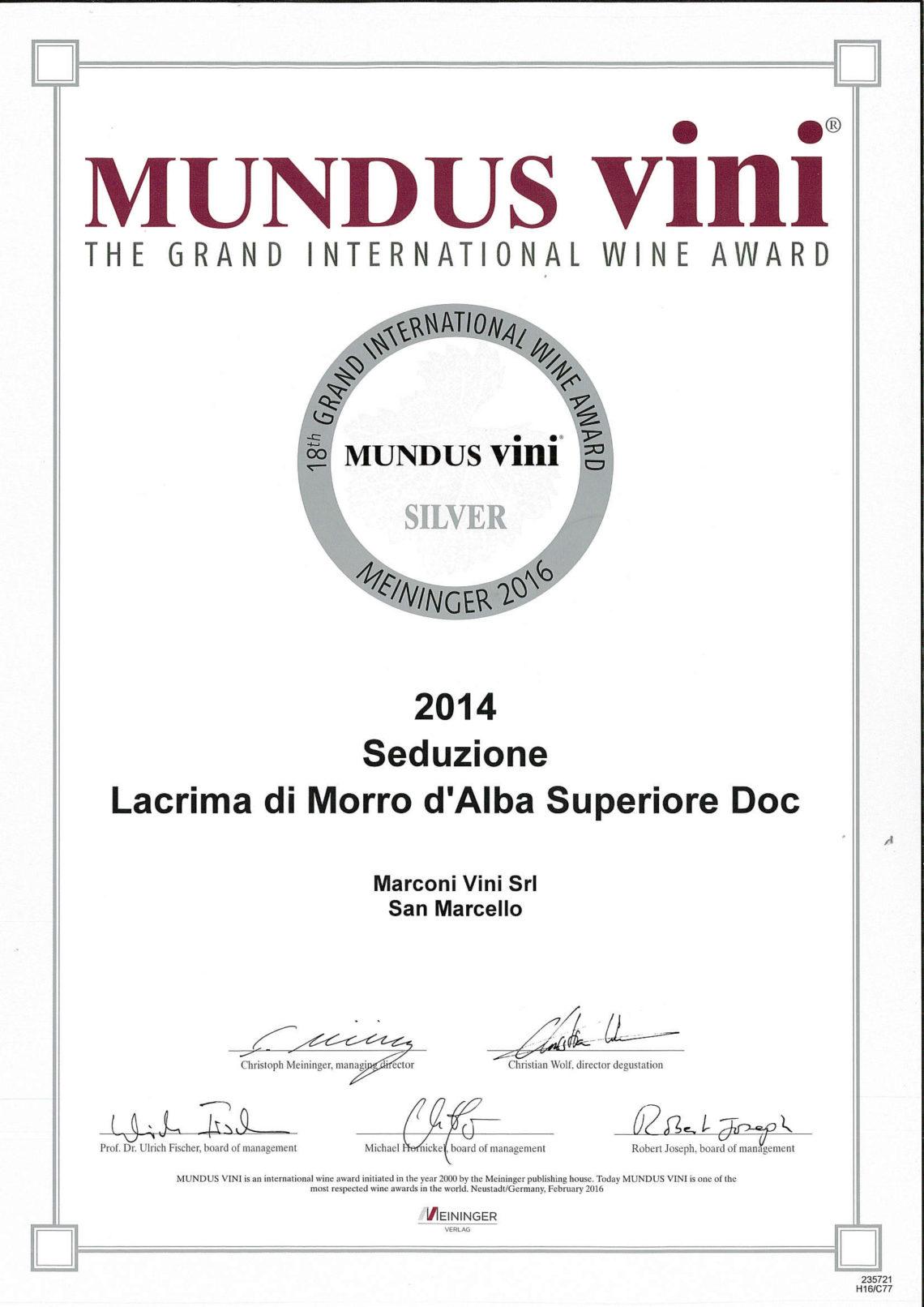 Marconi Vini - Lacrima di Morro d'Alba Superiore 2014 - Seduzione - Silver - Mundus Vini 2016