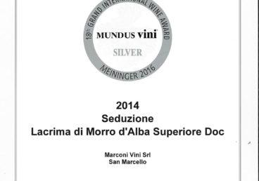 Lacrima di Morro d'Alba Superiore 2014 – Seduzione – Silver – Mundus Vini 2016