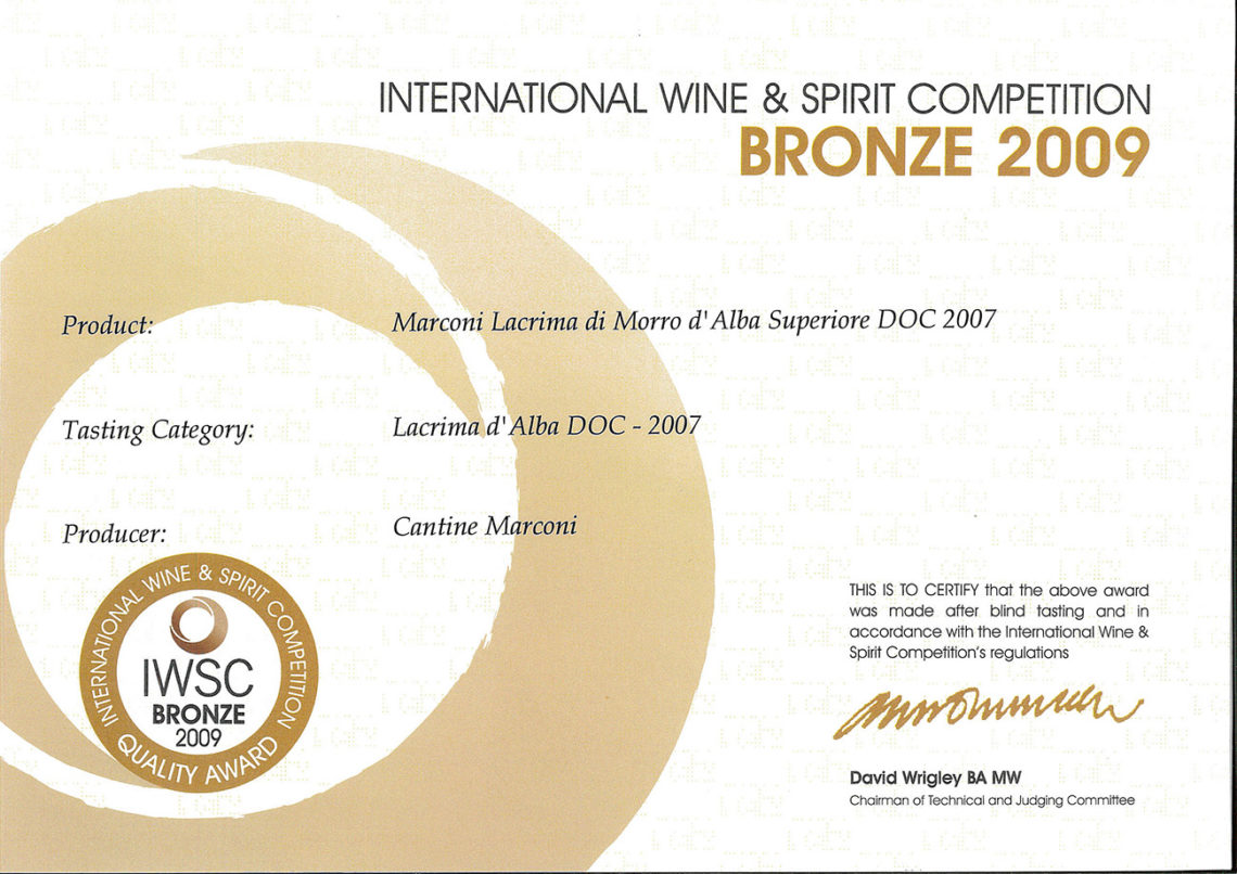 Marconi Vini - Lacrima di Morro d'Alba Superiore DOC 2007 - Bronze - International Wine e Spirit Competition 2009