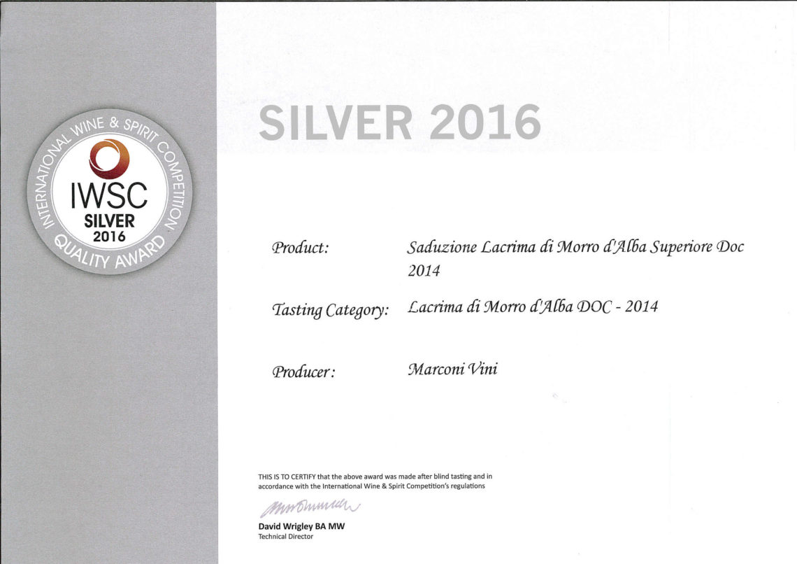 Marconi Vini - Lacrima di Morro d'Alba Superiore DOC 2014 - Seduzione - Silver - International Wine e Spirit Competition 2016