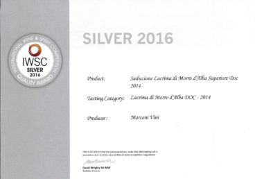 Lacrima di Morro d'Alba Superiore DOC 2014 – Seduzione – Silver – International Wine e Spirit Competition 2016