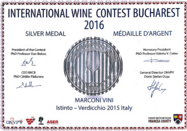 Verdicchio 2015 – Istinto – Silver – International Wine Contest Bucharest 2016