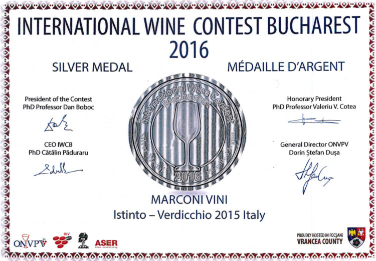 Verdicchio 2015 – Istinto – Silver – International Wine Contest Bucharest 2016