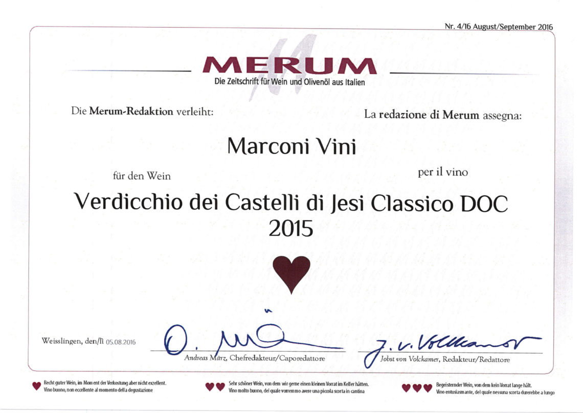 Marconi Vini - Verdicchio dei Castelli di Jesi Classico DOC 2015 - Merum 2016