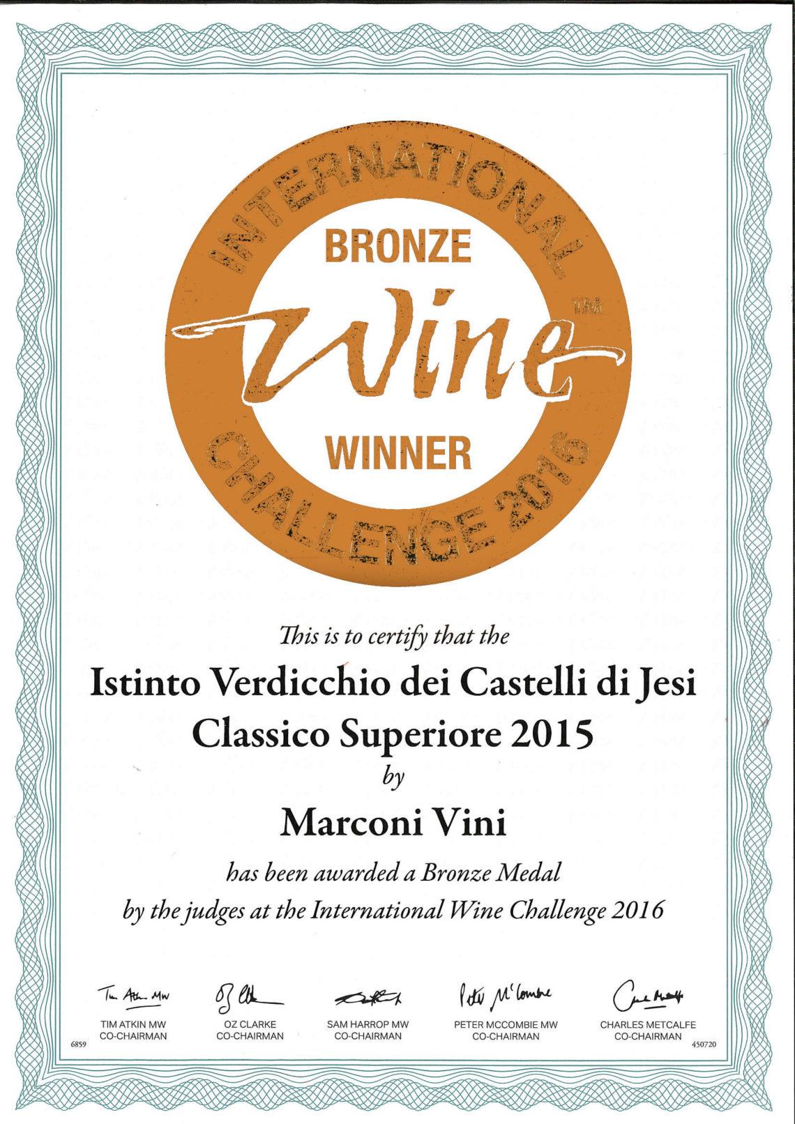 Marconi Vini - Verdicchio dei Castelli di Jesi Classico Superiore 2015 - Bronze - International Challenge 2016
