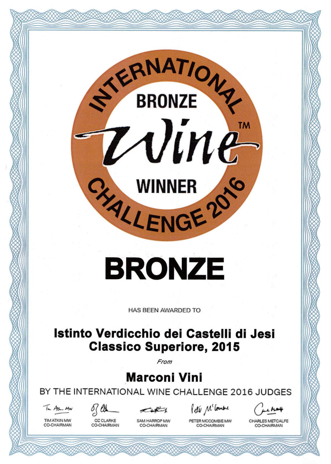 Marconi Vini - Verdicchio dei Castelli di Jesi Classico Superiore 2015 - Istinto - Bronze - International Wine Challenge 2016