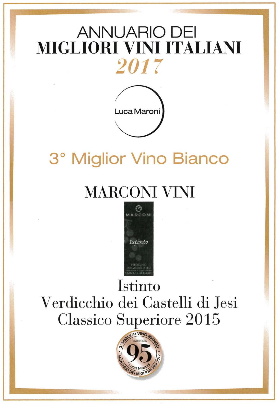 Marconi Vini - Verdicchio dei Castelli di Jesi Classico Superiore 2015 - Terzo Miglior Vino Bianco - Annuario dei Migliori Vini Italiani 2017