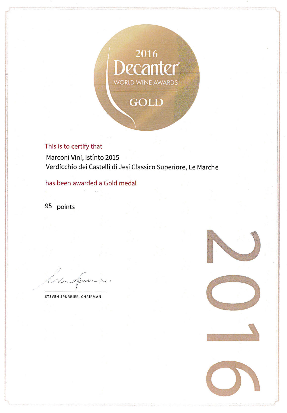 Marconi Vini - Verdicchio dei Castelli di Jesi Classico Superiore 2016 - Gold - Decanter World Wine Awards 2016