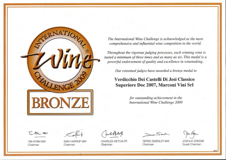 Verdicchio dei Castelli di Jesi Classico Superiore DOC 2007 – Bronze – International Wine Challenge 2009