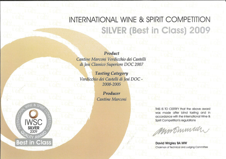 Verdicchio dei Castelli di Jesi Classico Superiore DOC 2007 – International Wine e Spirit Competition 2009