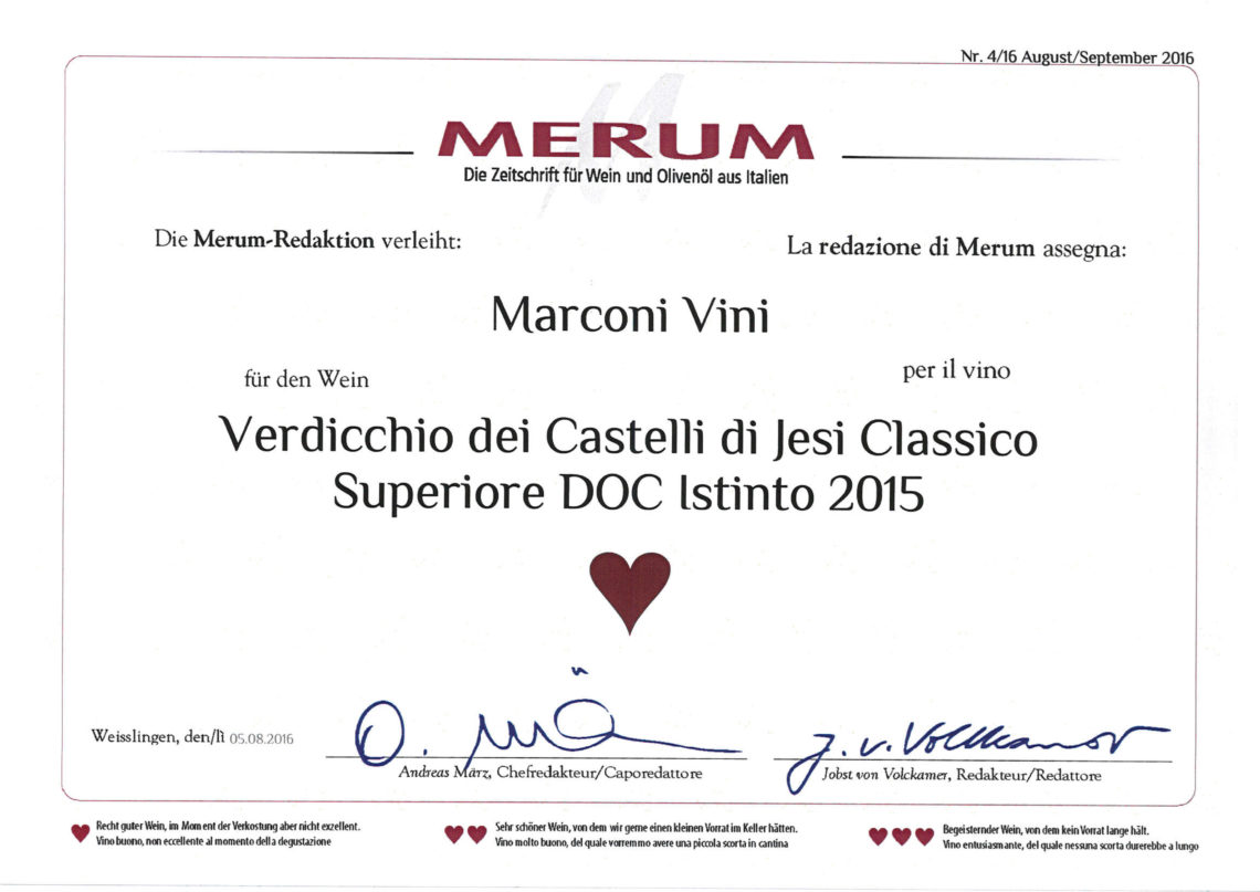 Marconi Vini - Verdicchio dei Castelli di Jesi Classico Superiore DOC 2015 - Istinto - Merum 2016