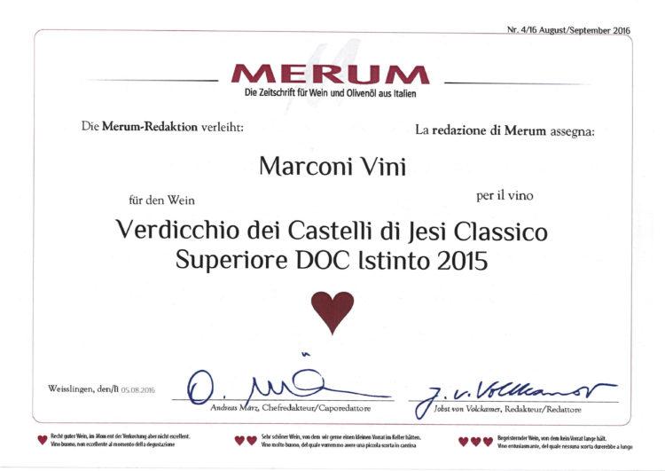 Verdicchio dei Castelli di Jesi Classico Superiore DOC 2015 – Istinto – Merum 2016