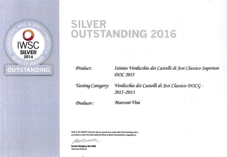 Verdicchio dei Castelli di Jesi Classico Superiore DOC 2015 – Istinto – Silver – International Wine e Spirit Competition 2016